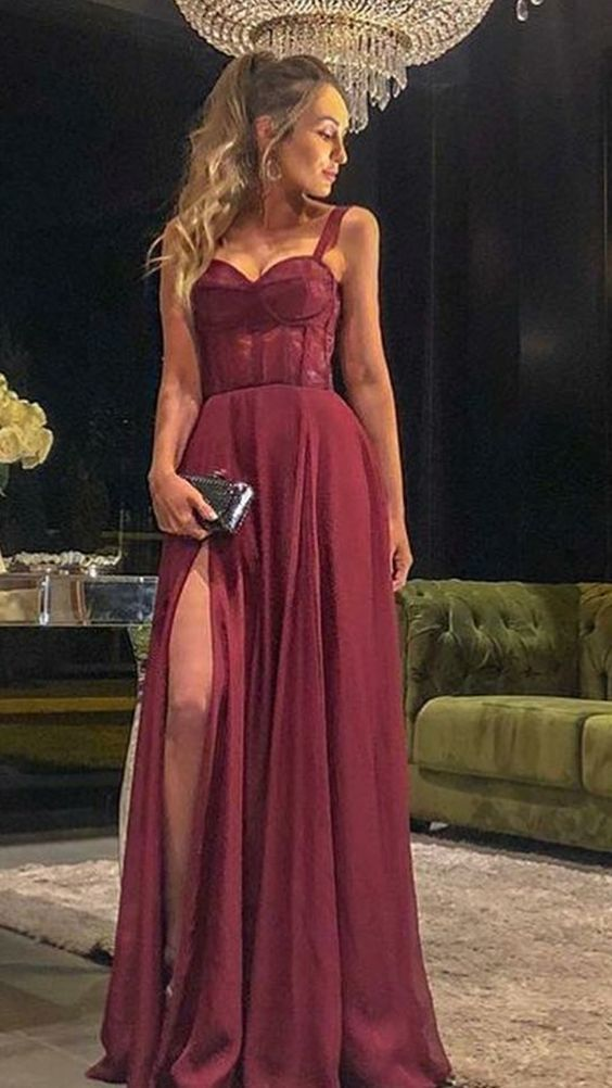 A LINE BURGUNDY PROM DRESS WITH STRAPS