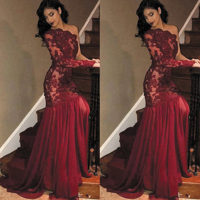 burgundy evening dresses long sleeve lace applique beaded mermaid elegant