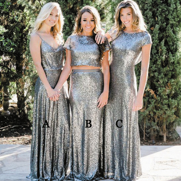 sparkly bridesmaid dresses long mismatcehd silver gray sequin elegant wedding
