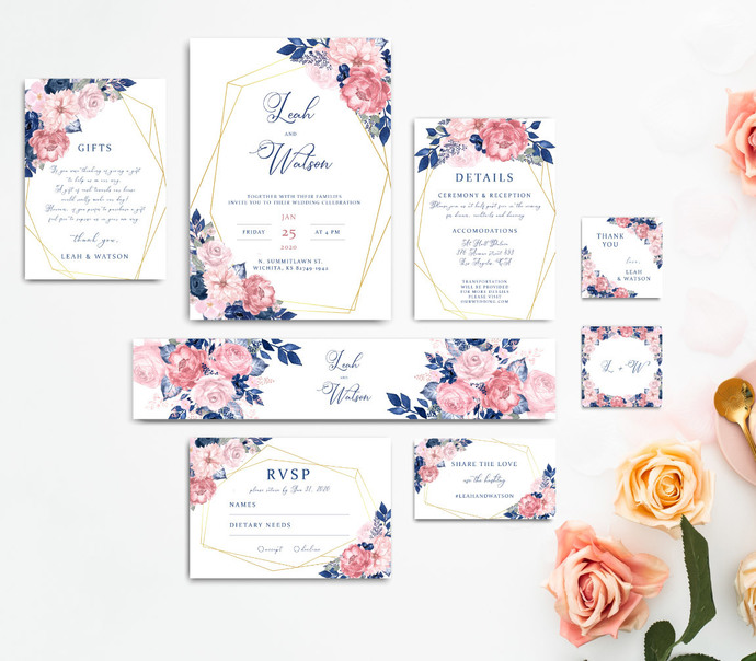 Rustic Wedding Template, Editable Template - Instant Download, Printable Pink