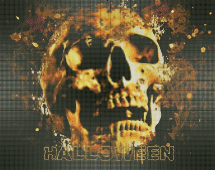 Halloween cross-stitch, skull scheme for embroidery, embroidery on clothing