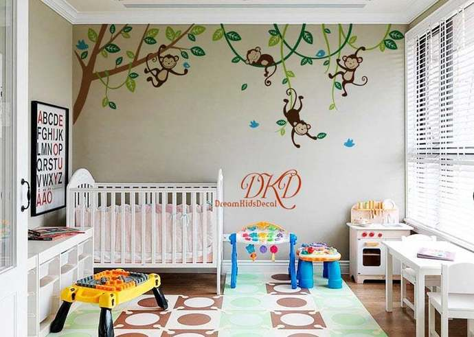 Nursery Wall Decal, Jungle Monkey Wall Decals, Hanging Monkeys on the tree,