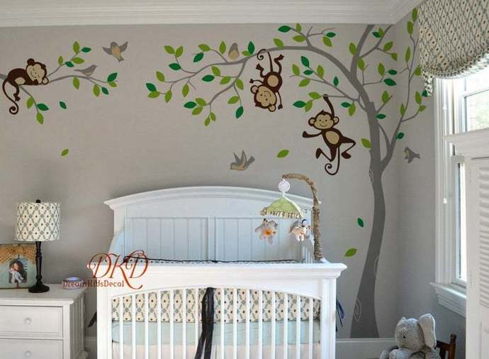 Boy Jungle Monkey Wall Decal, Monkeys, birds and name decal for nursery,kids