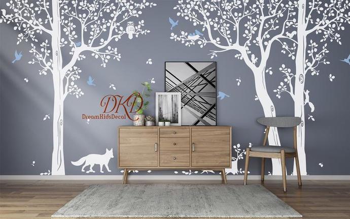 Tree Wall Decal Nursery Wall Decals-Tree with birds Fox Owls on the tree-Happy