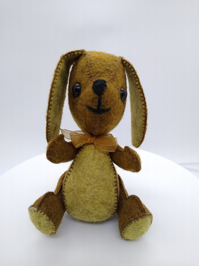 Prototype Hand Sewn Felt Puppy- brown and tan