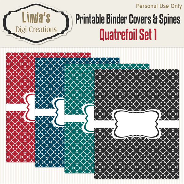 Printable Binder Covers & Spines_Quatrefoil Set 1