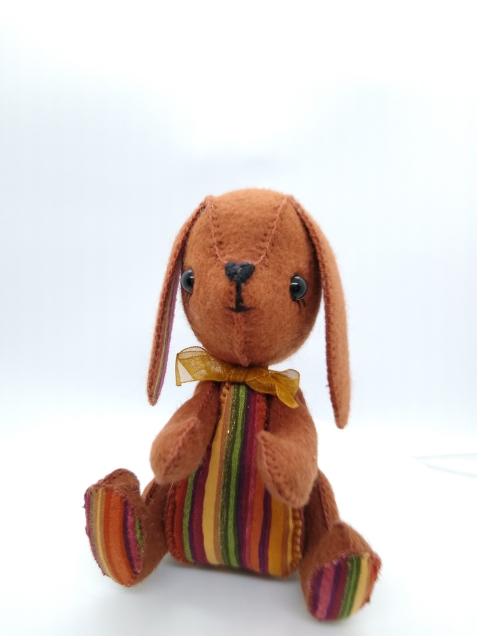 Prototype Hand Sewn Felt Puppy - brown and striped