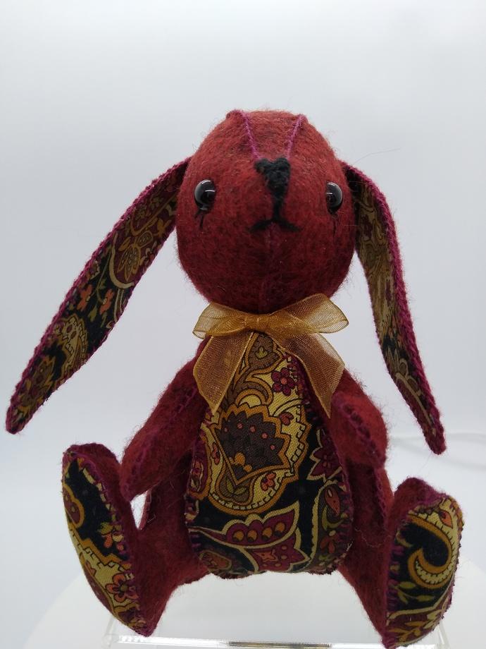 Prototype Hand Sewn Felt Bunny - burgundy and paisley