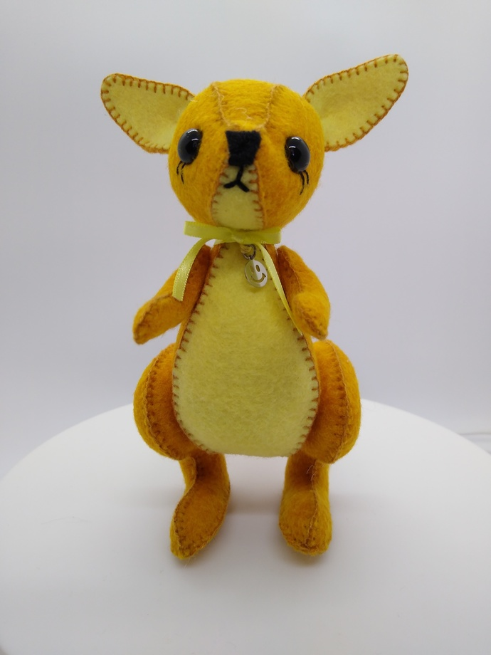 Prototype Hand Sewn Felt kangaroo -  gold and yellow