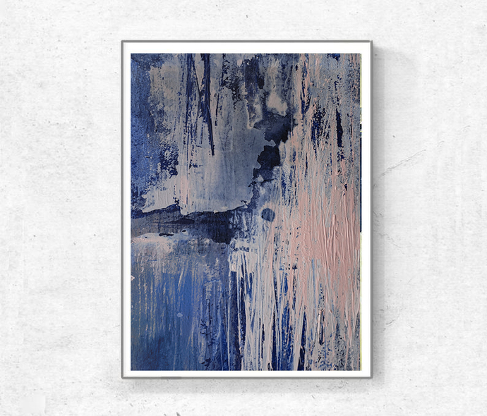 Printable Art, Art Poster, Digital Download, Wall Decor, navy blue and pink,