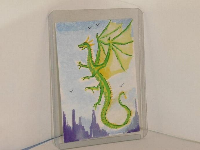 """""""Flight of the Green Dragon"""" original ACEO watercolor painting"""