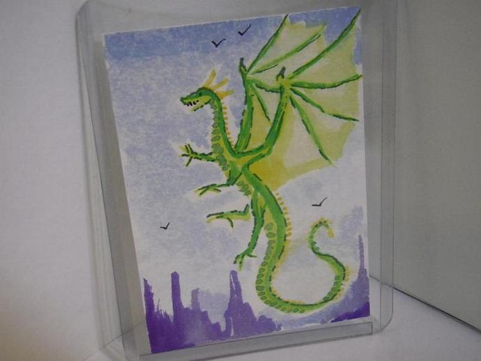 """Flight of the Green Dragon"" original ACEO watercolor painting"