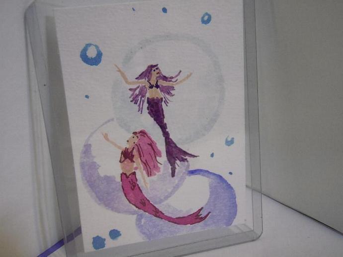 """""""Mermaid Dance"""" original ACEO watercolor painting"""