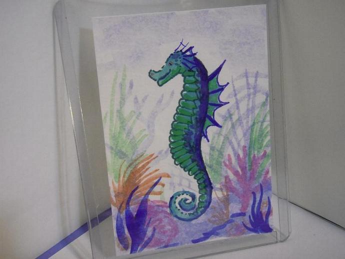 """Seahorse"" original ACEO watercolor painting"