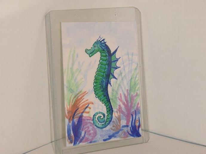 """Seahorse"" original ACEO watercolor painting"