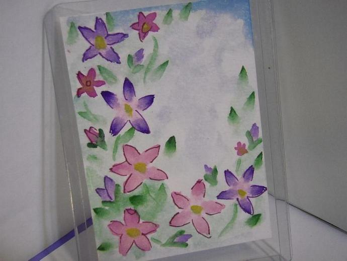 """""""How does your Garden Grow"""" original ACEO watercolor painting"""