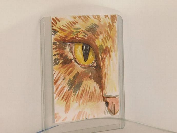 """Tabby Cat"" original ACEO watercolor painting"
