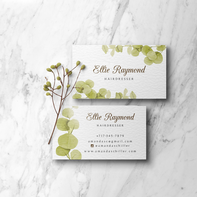 Printable Greenery Business Cards, Green Business Cards, Independent Consultant