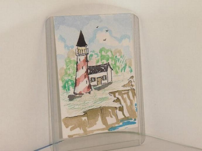 """Summer Lighthouse"" original ACEO watercolor painting"