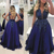royal blue prom dresses lace appliqué beaded sleeveless elegant a line prom