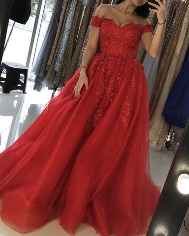 Elegant Red Tulle Lace Off Shoulder Long Prom Gown, Red Party Gown 2020