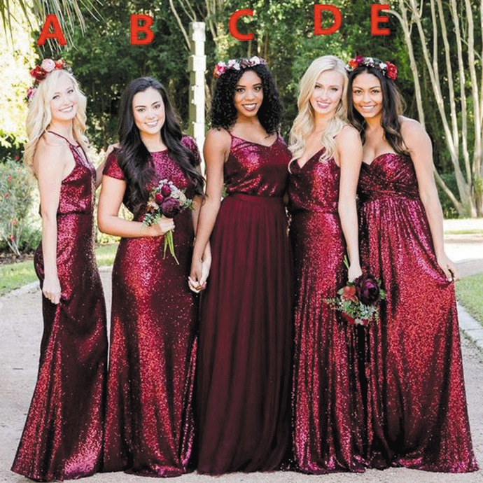 wedding party dresses 2020 burgundy sparkly bridesmaid dresses long mismatched
