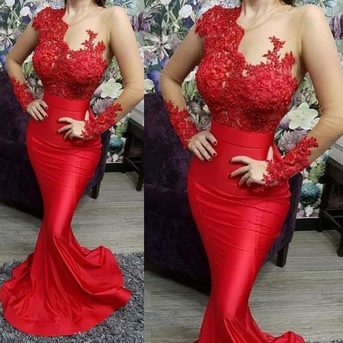 red evening dresses long sleeve lace applique beaded mermaid elegant evening