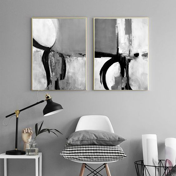 Set of 2 Prints, 2 Black & White Abstract Art, instant download, Minimal art,