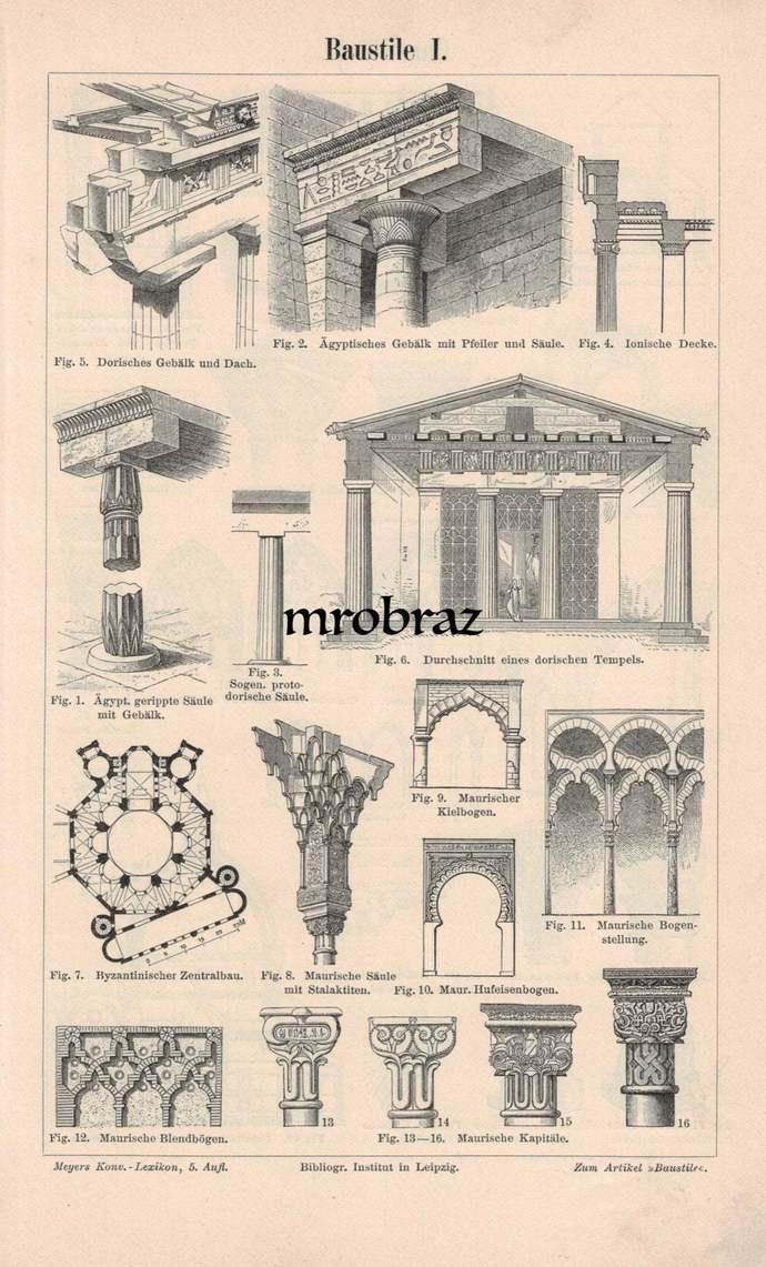 Antique Architecture Print, Vintage Column Illustration, Gothic Print, Roman