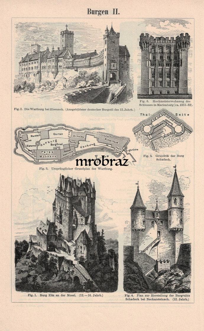 Antique Architecture Print, Vintage Castle Illustration, Vintage Eltz Castle,