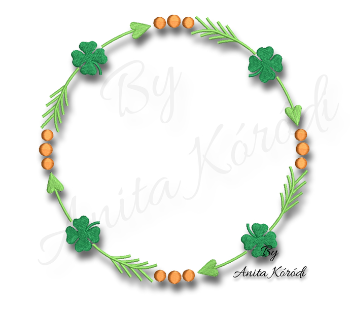 Copy of St. Patrick's Day monogram frame Embroidery Shamrock design instant