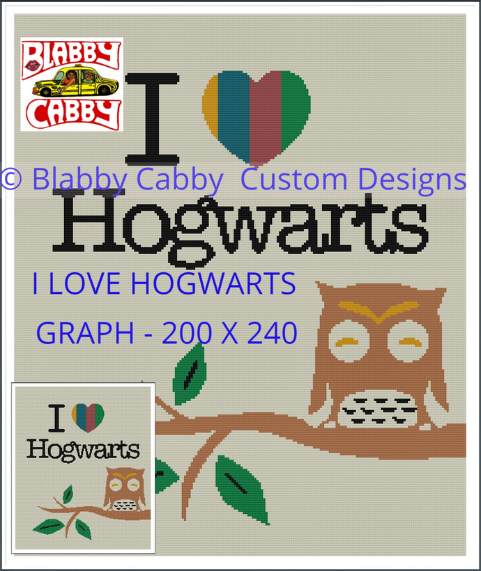 I LOVE HOGWARTS - Graph and Single Crochet Written row by row Instructions in