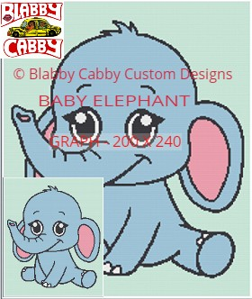 BABY ELEPHANT -THROW-200X240- SINGLE CROCHET (AMERICAN UNITS) GRAPH AND ROW BY
