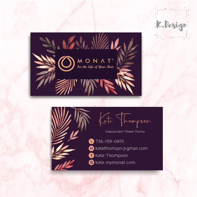 Purple Business Cards, Personalized Monat Hair Care Cards MN03