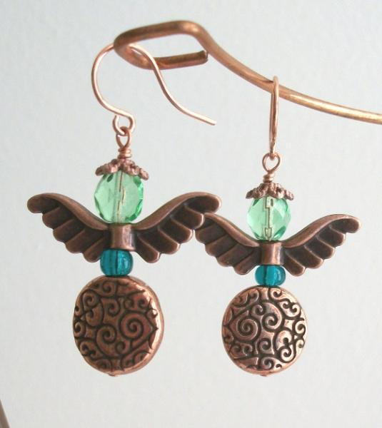 Handmade Copper and Czech Firepolish Guardian Angel Earrings