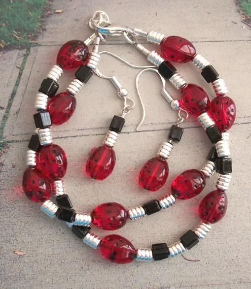 OOAK Ladybug Beaded Bracelet and Dangle Sterling Earrings Set