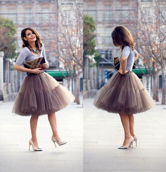 Custom Skirt, Street Style Skirt,A-Line Skirt,Spring Autumn Skirt ,Gray Skirt Z