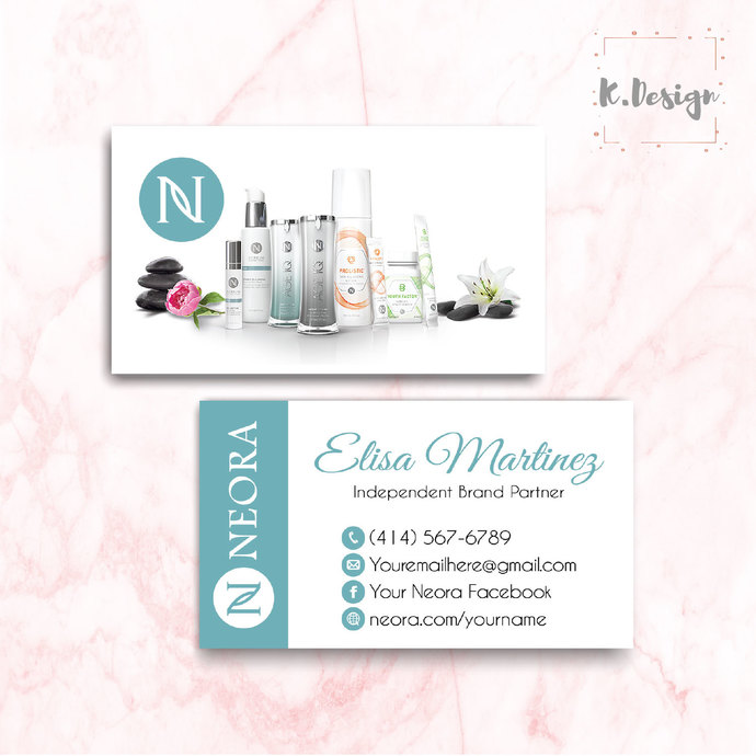 Neora Business Cards, Personalized Neora Template NE05