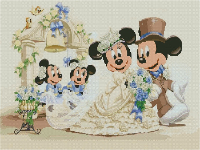 Mickey Mouse and Minnie Mouse cross stitch, wedding disney embroidery PDF,