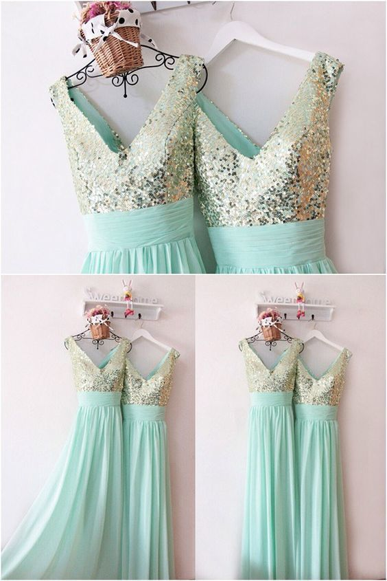 Glamorous Chiffon and Sequins Mint Green Bridesmaid Dress, Long Party Dress 2020