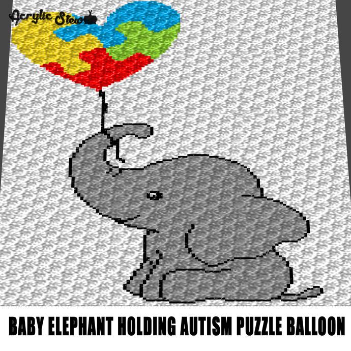 Baby Elephant C2C Corner to Corner Afghan Blanket PDF Pattern ... | 690x690