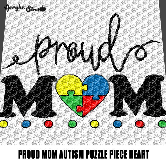 Proud Mom Autism Awareness Puzzle Heart crochet graphgan blanket pattern; c2c;