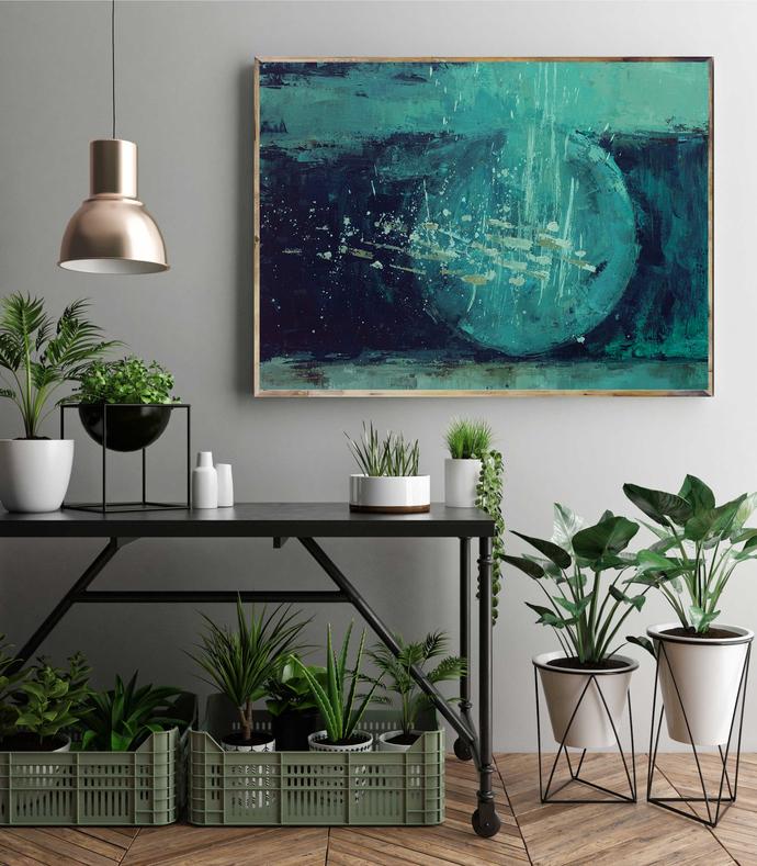 Horizontal teal blue wall art, large digital print, emerald green blue turquoise