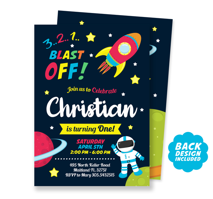 Space Invitation, Personalized and Printable Space Birthday Invitation, Outer