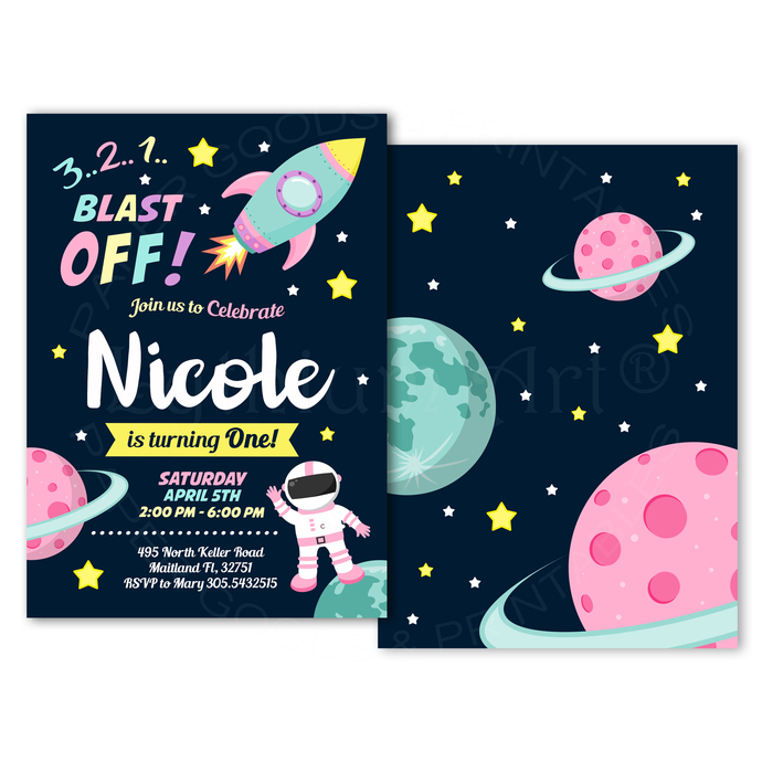 Space Invitation for Girls, Personalized and Printable Space Birthday