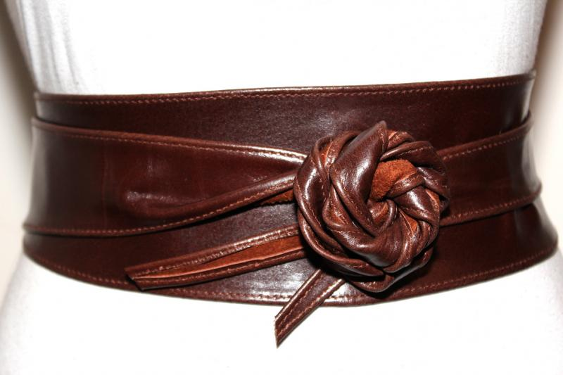 Dark Brown Obi Leather Belt Size S To M By Ilovebelts On