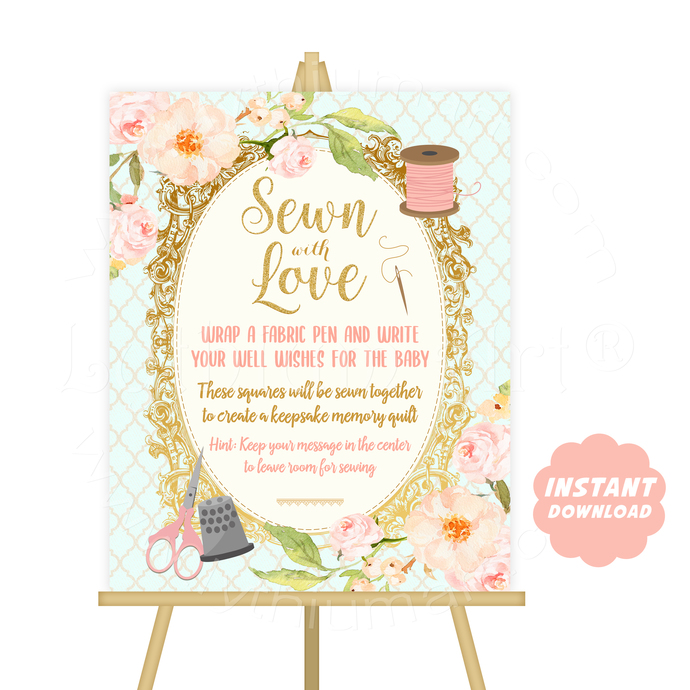 Printable Sewn With Love Quilt Guestbook Sign, Instant Download, Keepsake Memory