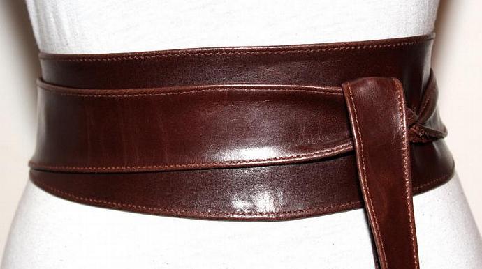 Dark Brown Obi Leather Belt Size L to XL -  7f59d6a70