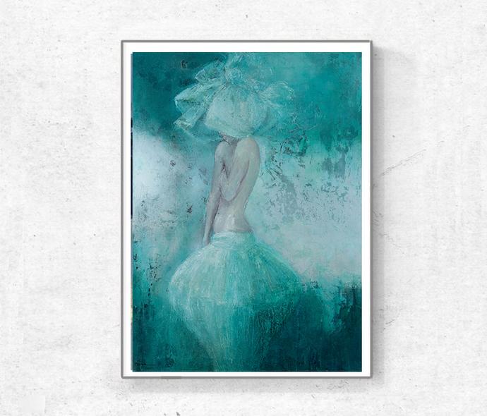 Instant download, Large print, contemporary art, figure painting, romantic woman