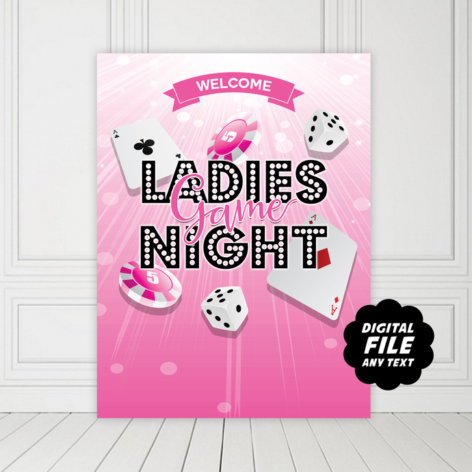 Ladies Game Night Party Backdrop, Printable and Personalized Banner, Any Text,